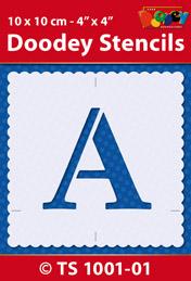 TS1001-01 Doodey Stencil , 10x10 cm Letter A