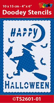 TS2601-01 Doodey Stencil , 10x15 cm Happy Halloween