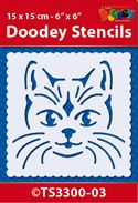 TS3300-03 Doodey Stencil 15x15 cm - Cat