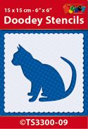 TS3300-09 Doodey Stencil 15x15 cm - Cat