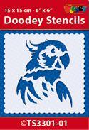 TS3301-01 Doodey Stencil 15x15 cm - Parrot