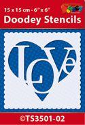 TS3501-02 Doodey Stencil 15x15 cm - Love Heart