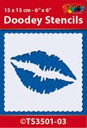 TS3501-03 Doodey Stencil 15x15 cm - Kiss