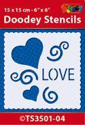 TS3501-04 Doodey Stencil 15x15 cm - Love