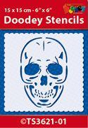 TS3621-01 Doodey Stencil 15x15 cm - Skull