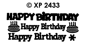 XP2433 Peel-Off Sticker Happy Birthday, various