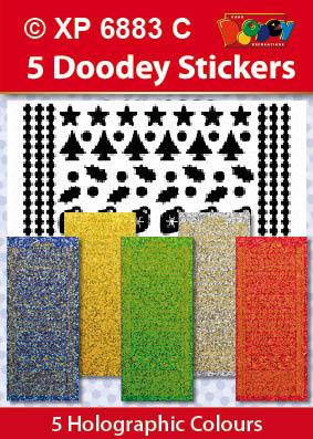 XP6883C Holografische set: Kerst dots stickers 1