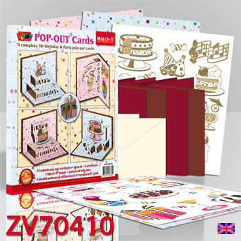 ZV70410 Set 4 3D-Pop-Up party cards