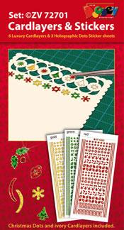 ZV72701 Set Kerstmis Oplegkaarten en Holografische Sticker dots