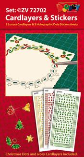 ZV72702 Set Kerstmis Oplegkaarten en Holografische Sticker dots
