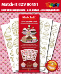 ZV80451 Set Boek met 4 Stickers Match-It 3D Cupcakes