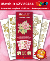 ZV80464 Set Boek met 4 Stickers Match-It 3D Rozen