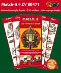 ZV80471 Set Boek met 4 Stickers Match-It 3D Christmas