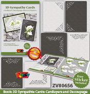 ZV80656 Set Condoleance: Voorbeeldenboekje met 6stijlvolle knipvellen, getekend door Natasja van der Wal, 6 Luxe oplegkaarten, en een bijpassende transparante sticker.
