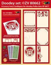 ZV80662 Set 6 Oplegkaarten met Polka Dots patronen (bloemen)