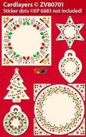 ZV80701 Set Kerstmis Oplegkaarten voor Holografische Sticker dots XP6883