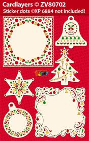 ZV80702 Set Kerstmis Oplegkaarten voor Holografische Sticker dots XP6884