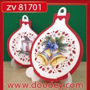 ZV81701 Set 2 staande kerstkaarten bal