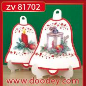 ZV81702 Set 2 staande kerstkaarten klok