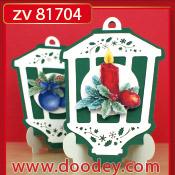 ZV81704 Set 2 staande kerstkaarten lantaarn
