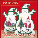 ZV81706 Set 2 staande kerstkaarten sneeuwman