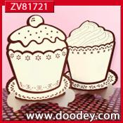 ZV81721 Set 2 staande Cupcake kaarten