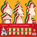 ZV85712 Navulverpakking Set 12 kerstkaarten met luxe oplegkaarten