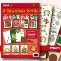 ZV90171 Set 4 X-mas cards 1 rood