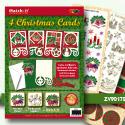 ZV90172 Set 4 X-mas cards 2 groen