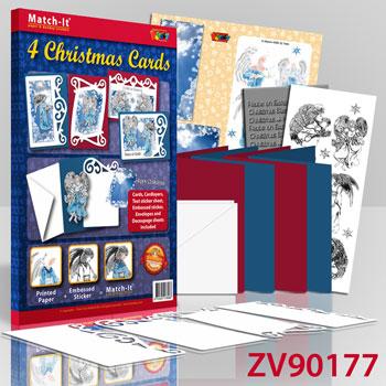 ZV90177 Set 4 X-mas angels cards 2 blauw