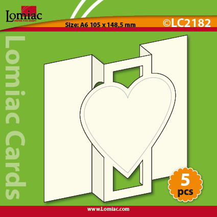 LC2182 5 die-cut cards trifold with heart