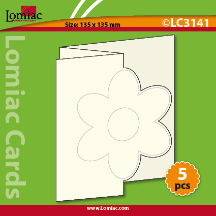 LC3141 5 die-cut cards square zigzag with flower